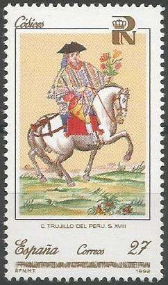 español a caballo (Baltasar Jaime Martínez Compañón, 1782-1790, II, 9)
