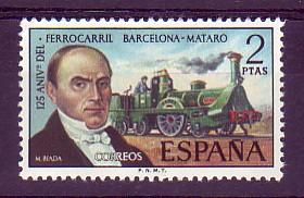 El 28 d'octubre de 1848, una gran gentada acompanya el viatge inaugural del ferrocarril des de Barcelona fins a Mataró amb les seves salutacions i aplaudiments. Es celebren tres actes solemnes, un a l'estació de Barcelona, un altre a la de El Masnou i un tercer a la de Mataró, en presència d'una comitiva d'autoritats, mentre la multitud entusiasta omple tots els voltants.
