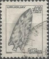Punta lítica de lanza según la pieza, por ejemplo, conservada en la colección de Emilio Rueda, datada en torno a 4000 AEC.