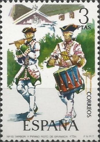 tambor y pifano del regimiento de Granada, 1734