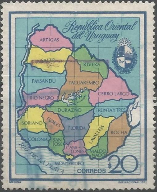 mapa administrativo de la República Oriental del Uruguay: división de primer orden, en departamentos