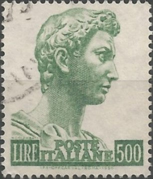 postage stamp designer: Saint George by Donatello, 1956