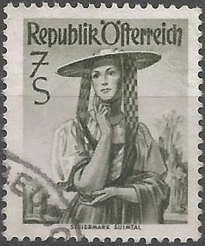 postage stamp designer: costume of Styria (Sankt Martin im Sulmtal)