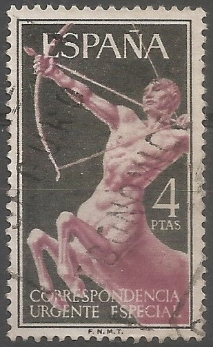 postage stamp engraver: centaur: race of creatures fabled to be half human and half horse, and to dwell in the mountains of Thessaly and Arcadia