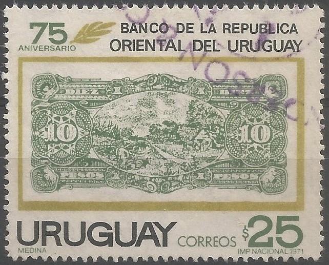 75.º aniversario del Banco de la República Oriental del Uruguay: reverso del billete de 10 pesos emitido el 1 de octubre de 1896