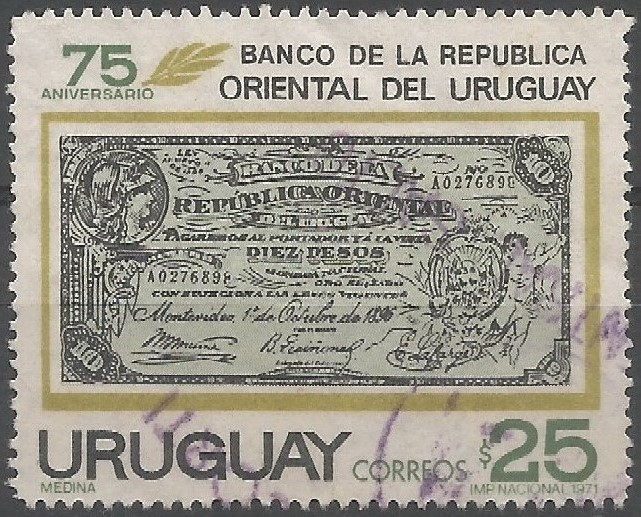 signature of José María Muñoz, president of the Bank of Oriental Republic of Uruguay (down left):  provissional issue, October 1, 1896