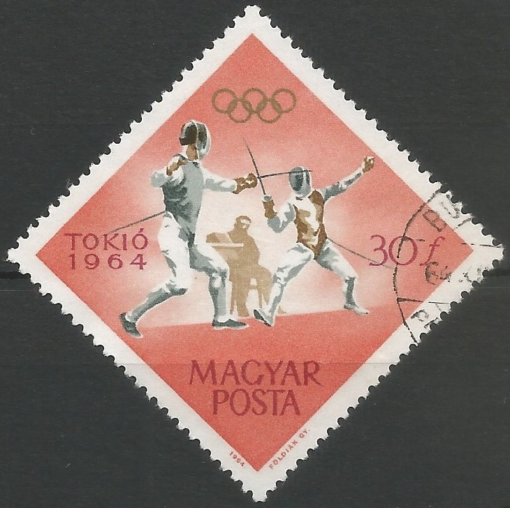 postage stamp designer: Games of the XVIII Olympiad (Tokyo 1964): fencing