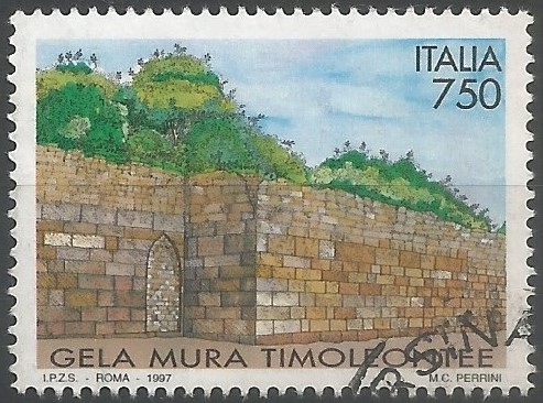 postage stamp designer: Italian artistic and cultural heritage: Greek walls of Gela
