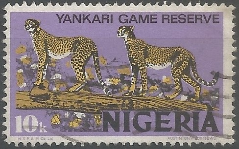 Postage stamp designer:  Yankari Game Reserve contains the largest surviving elephant population in Nigeria, estimated at 100-150 individuals,  one of the largest remaining in West Africa. In addition, it also supports an important population of the critically endangered West African lion, as well as buffalo, hippopotamus, roan and hartebeest. (Wildlife Conservation Society, Calabar, 2021)