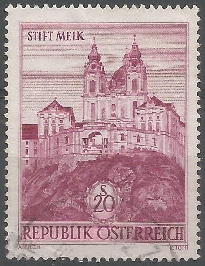 Postage stamp engraver: Melk Abbey: Baroque building sits on a granite rock overlooking the Danube, in the midway between Vienna and Linz, visible from afar like a fortress. From a distance it can already see the dome of the abbey church and the two towers, with golden ornaments. (Benediktinerstift Melk, 2021)