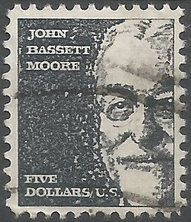 Postage stamp designer: Prominent Americans series: John Basset Moore: Laufer's design is based on a photograph that appeared in the September 1966 issue of the