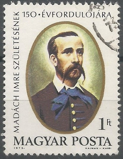 János Kass: postage stamp designer: 150th birth anniversary of Imre Madách (1823-1864)